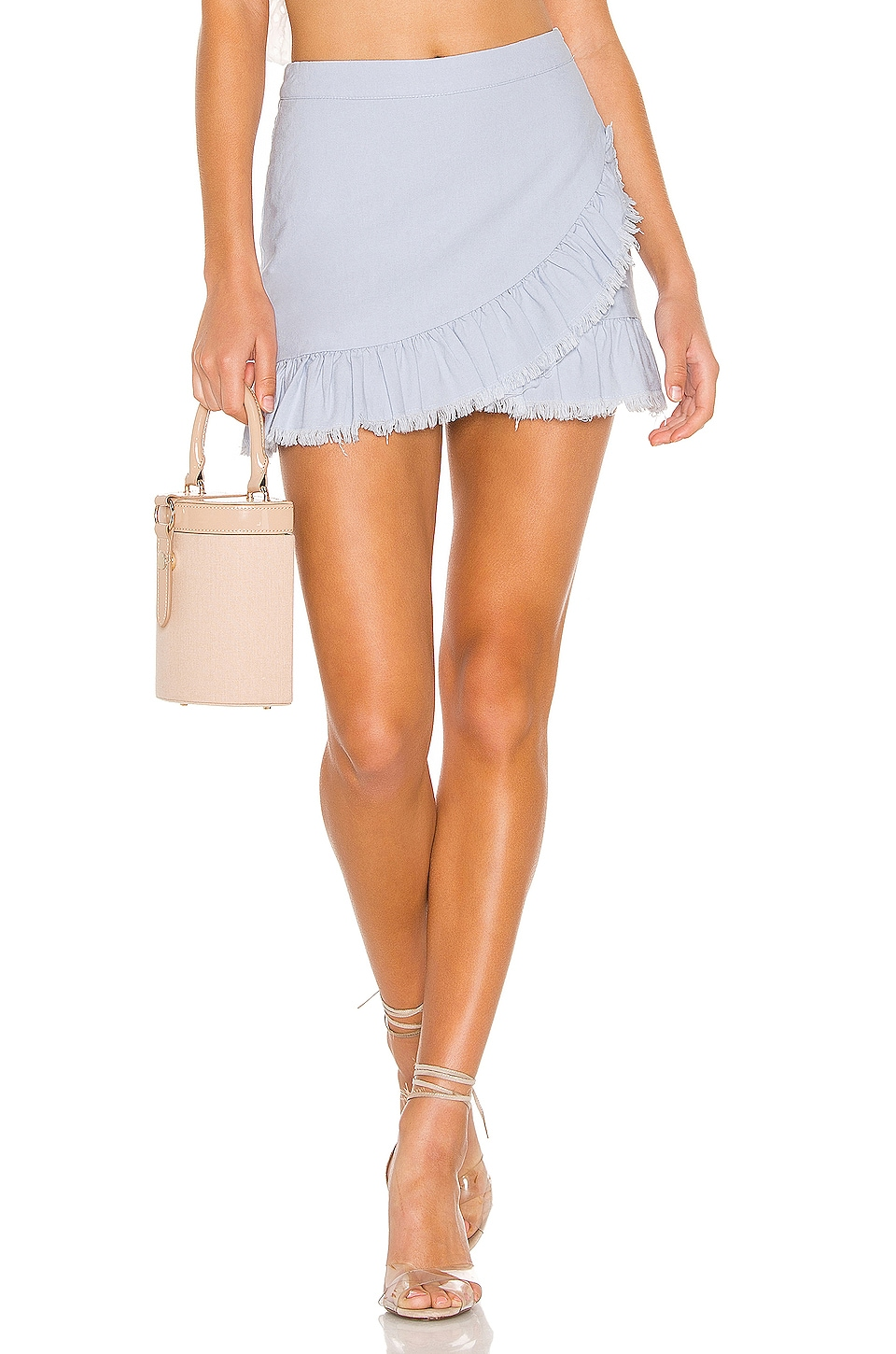 superdown Nola Ruffle Wrap Skirt in Light Blue