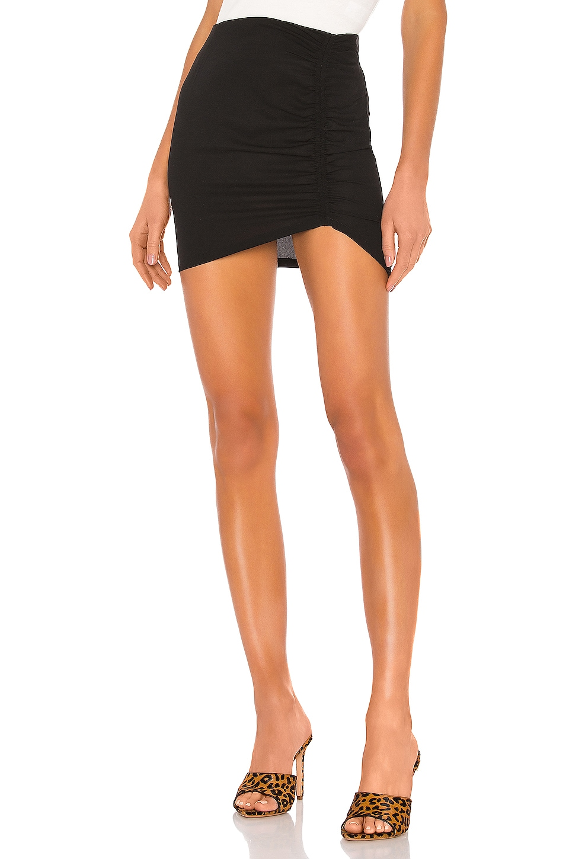 superdown Maya Ruched Mini Skirt in Black