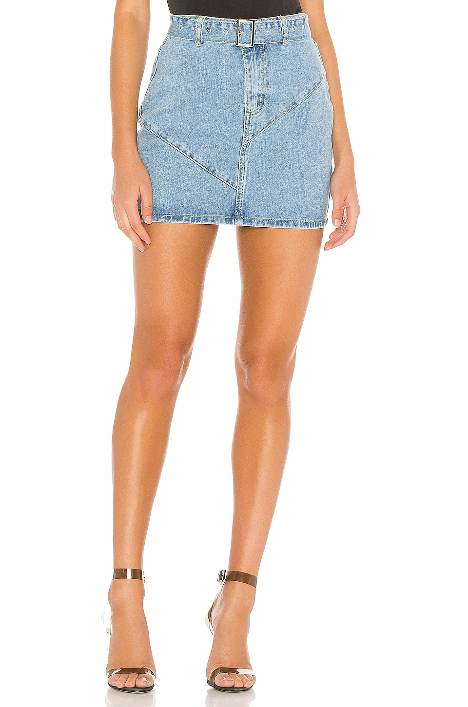 superdown Kali Denim Mini Skirt in Light Blue Wash