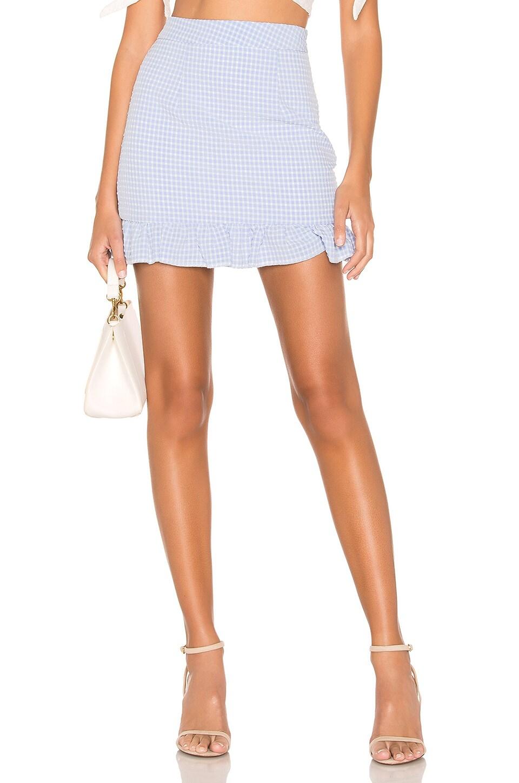 superdown Evey Mini Skirt in Light Blue