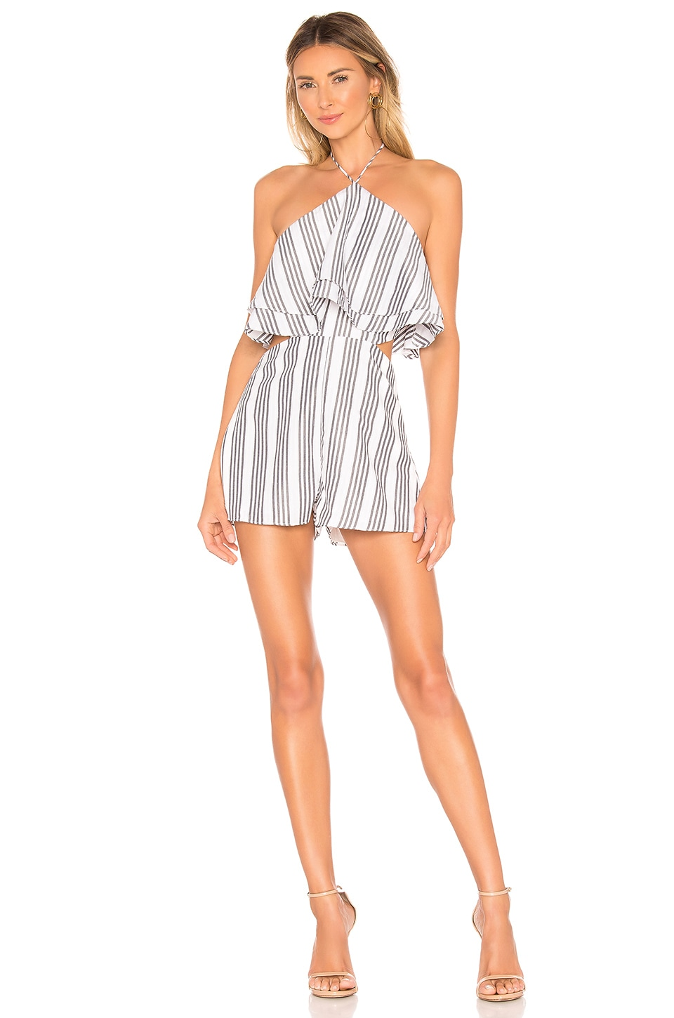 superdown Jamie Halter Romper in Black & White