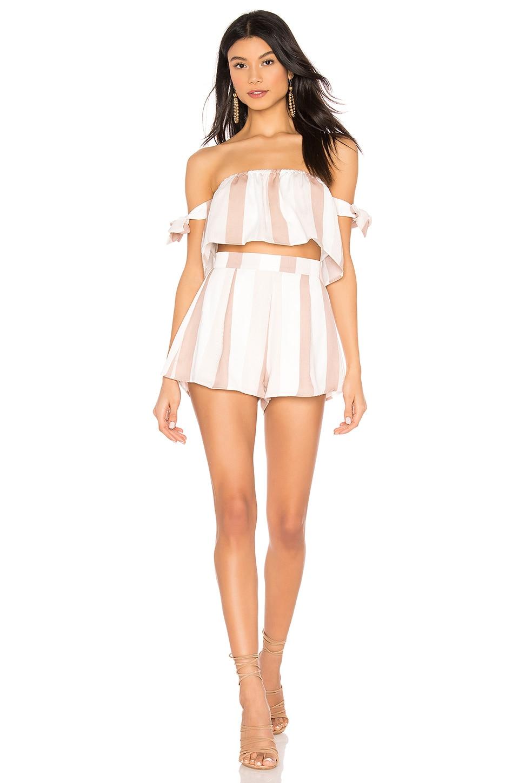 superdown Makayla Short Set in Blush & White