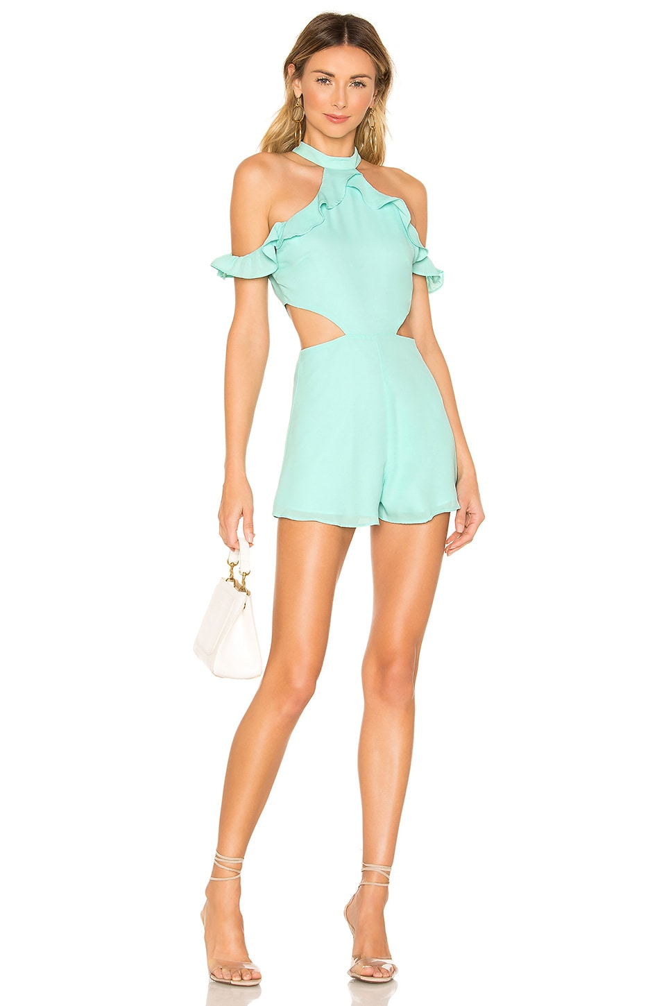 superdown Tobi Ruffle Romper in Seafoam