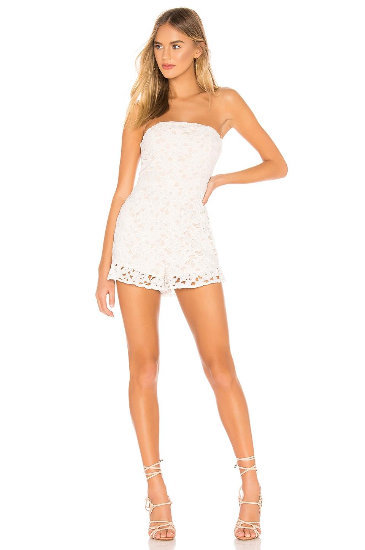 superdown x REVOLVE Kelli Strapless Lace Romper in White