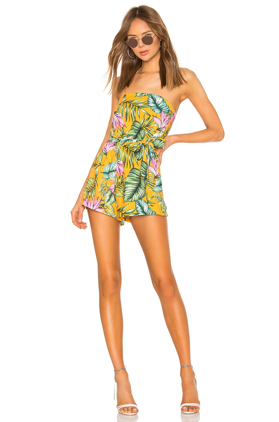 superdown Micah Strapless Romper in Yellow Floral