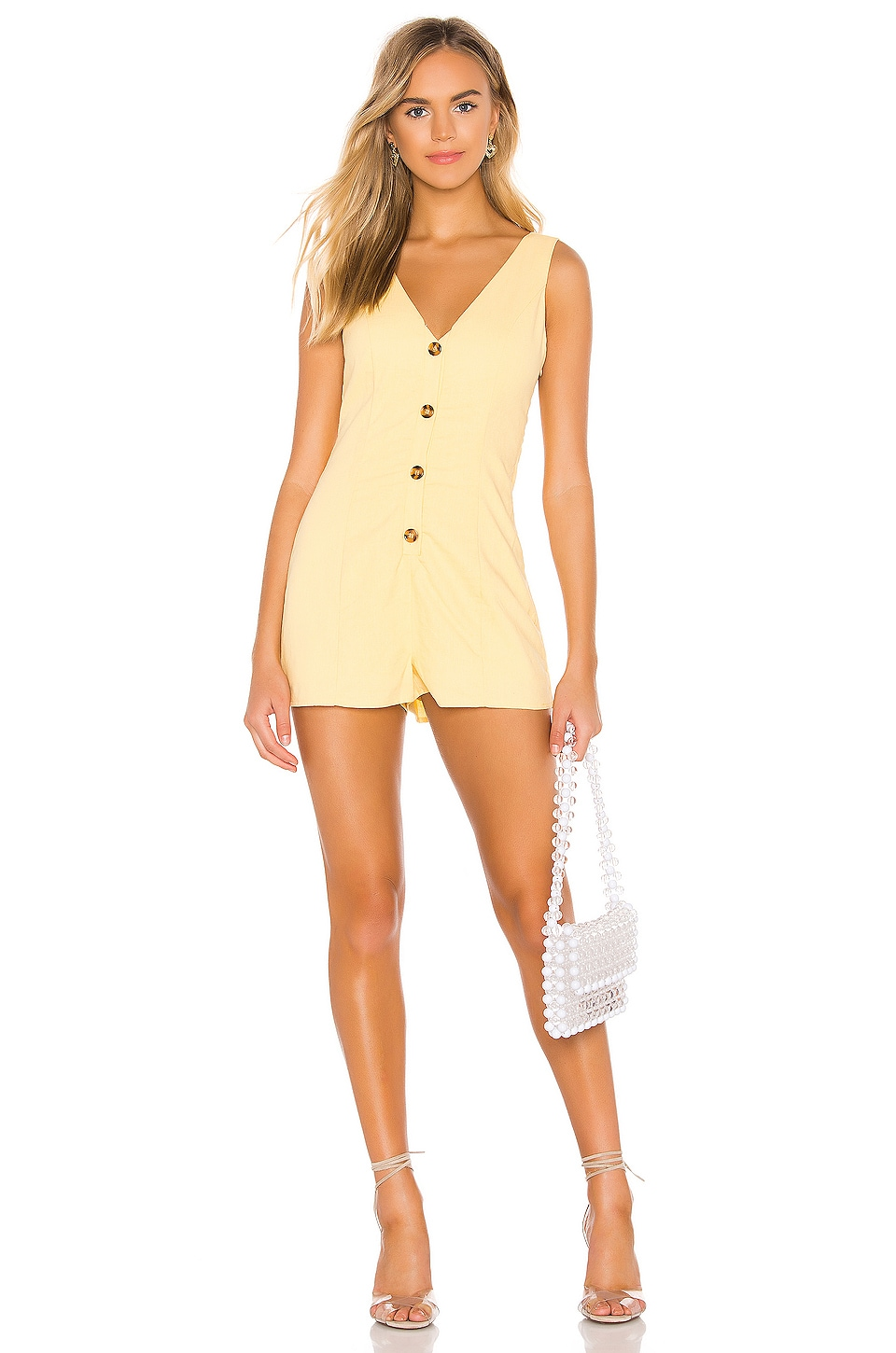 superdown Leanne Button Front Romper in Yellow