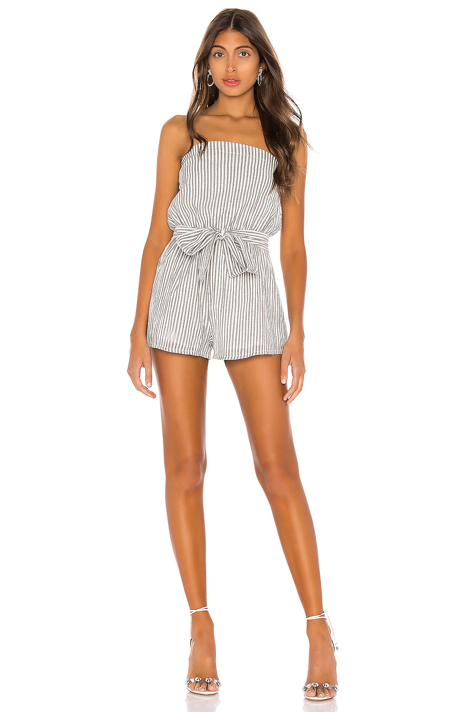 superdown Helena Stripe Tube Romper in White & Black