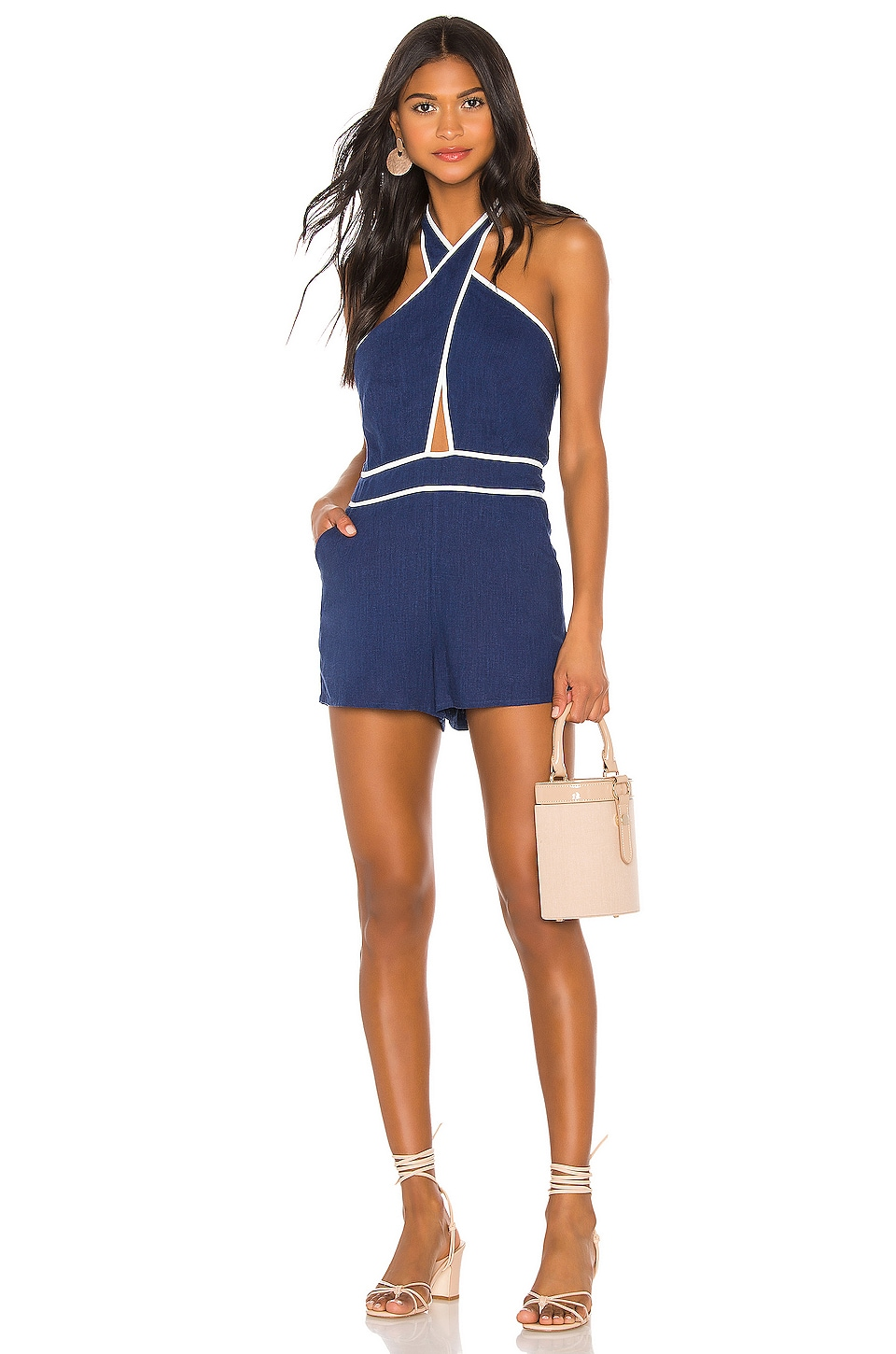 superdown Coraline Halter Romper in White & Navy