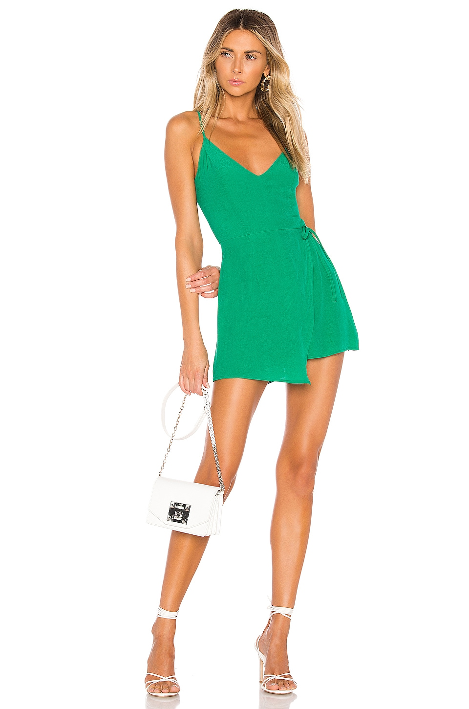 superdown Karen Wrap Romper in Green