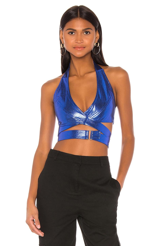 superdown x Draya Michele Deanna Halter Wrap Top in Blue Metallic