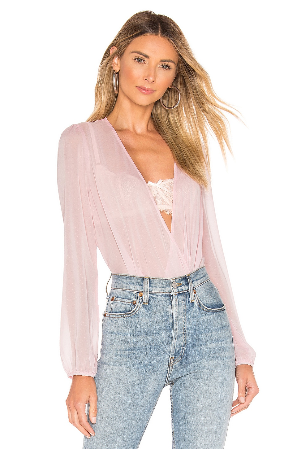 superdown Alaysia Surplice Top in Light Pink