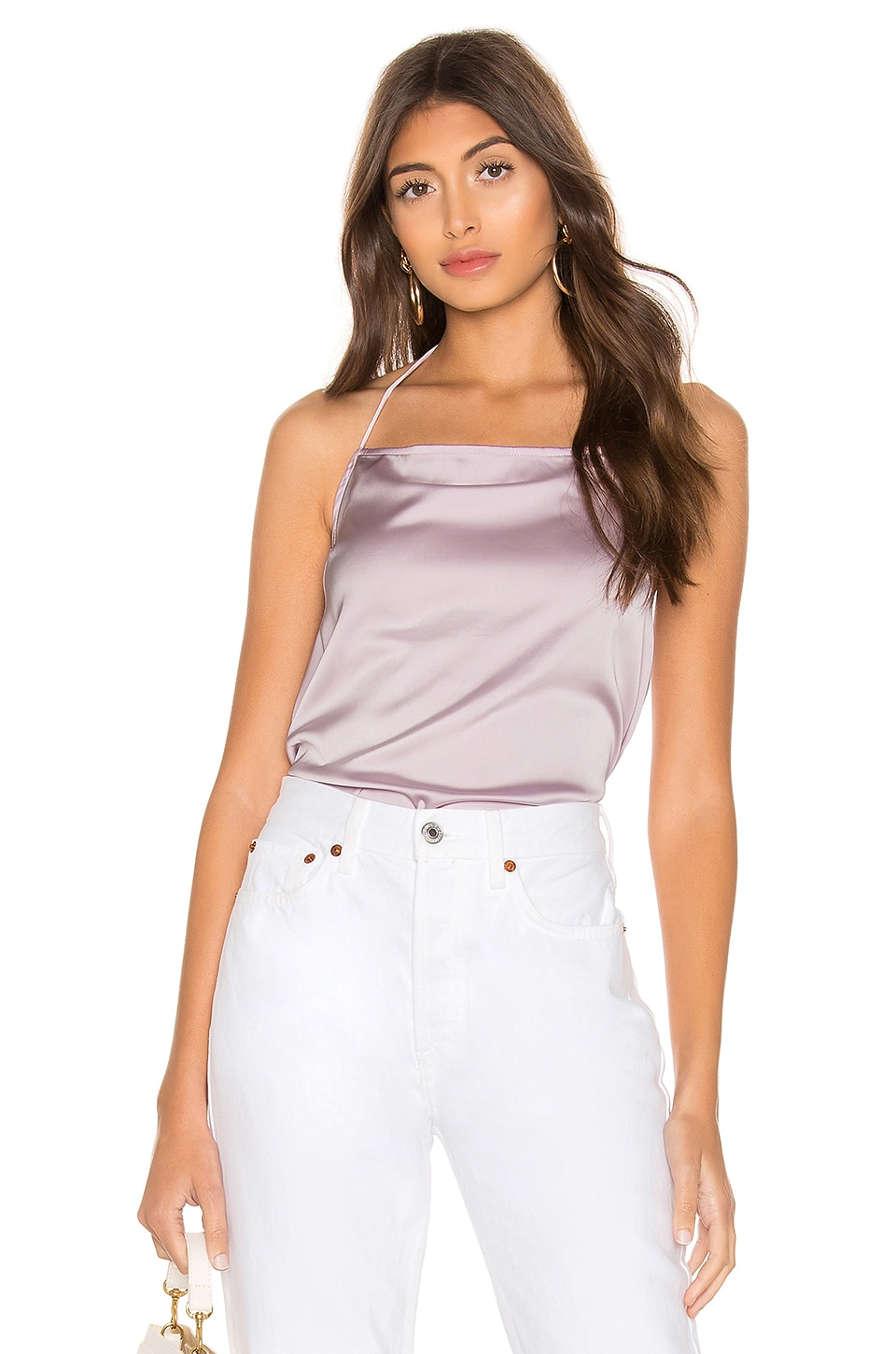 superdown Brenna Satin Halter Top in Lavender