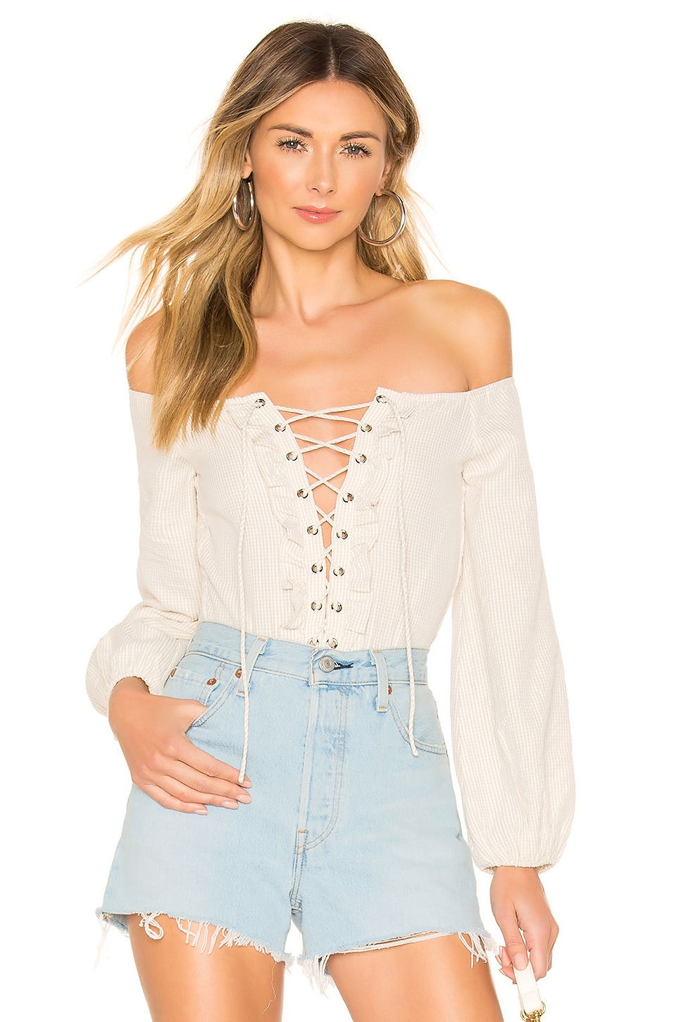 superdown Lulu Lace Up Bodysuit in Nude & White