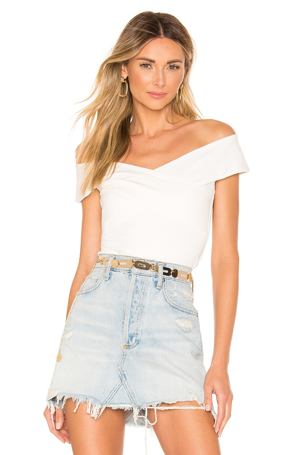 superdown Liana Cross Front Top in White