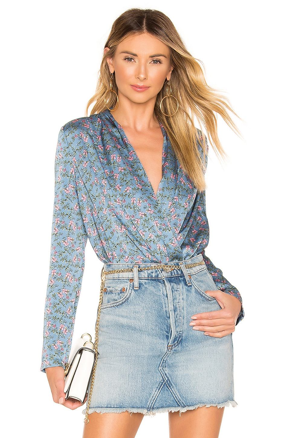 superdown Heidi Drape Wrap Bodysuit in Blue Floral