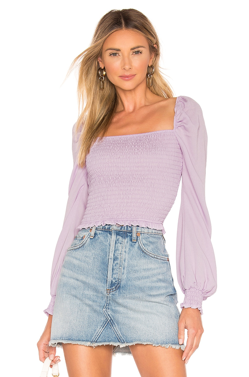 superdown Tanya Smocked Top in Lavender