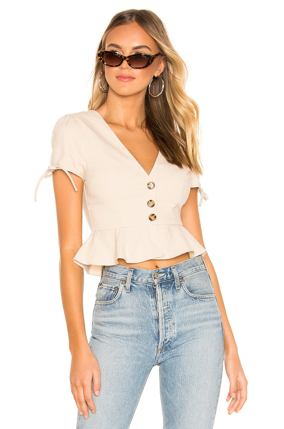 superdown Alana Button Front Top in Toast