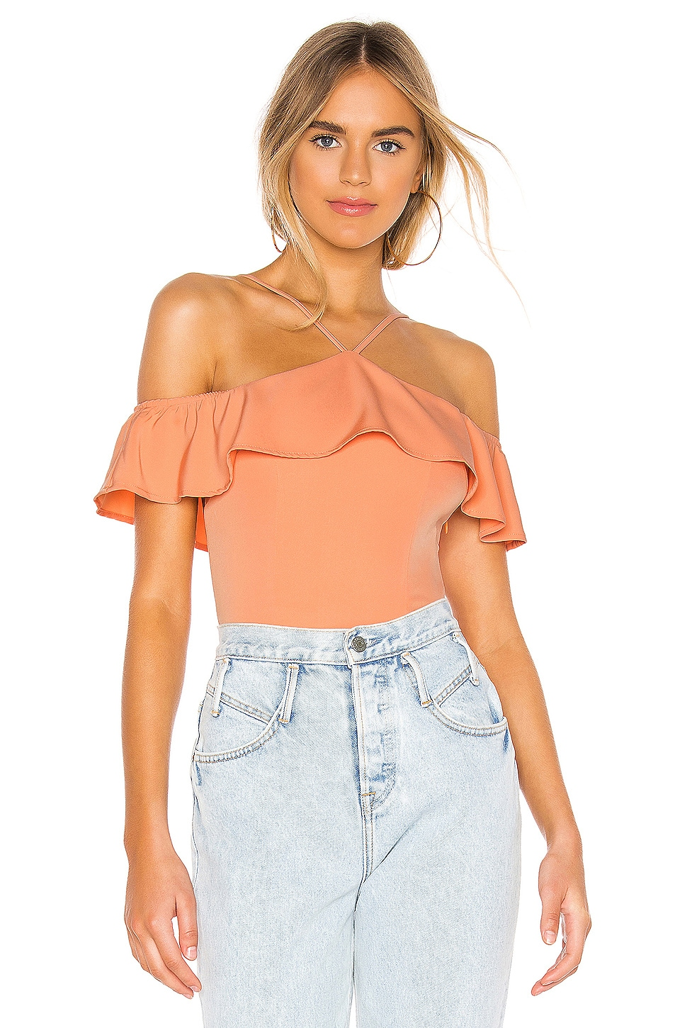 superdown Callie Ruffle Bodysuit in Peach