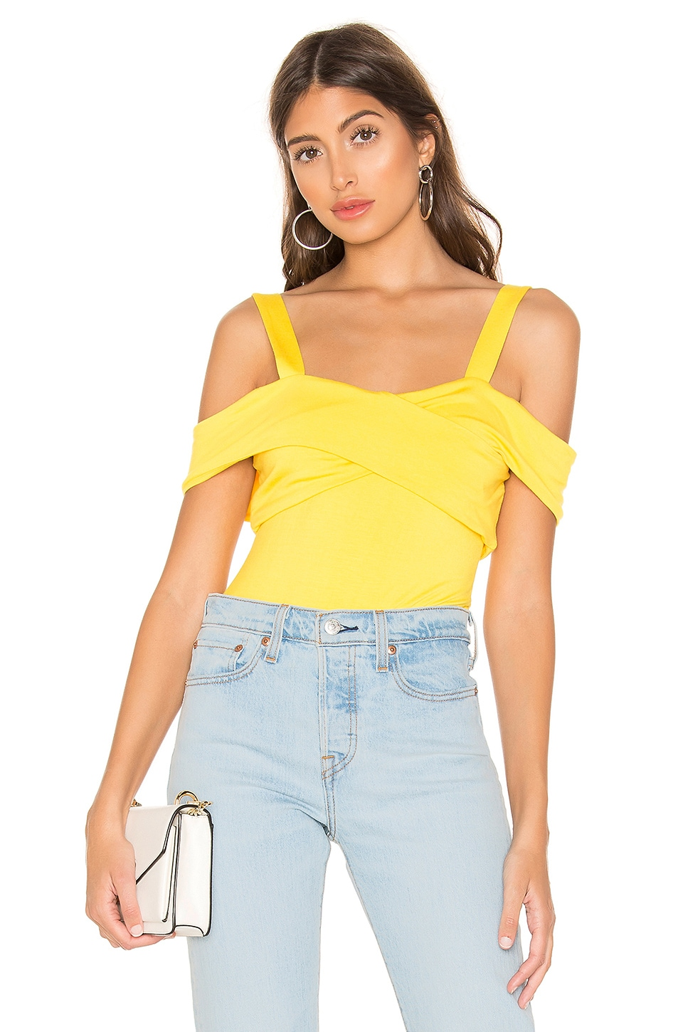 superdown Evie Off Shoulder Bodysuit in Yellow