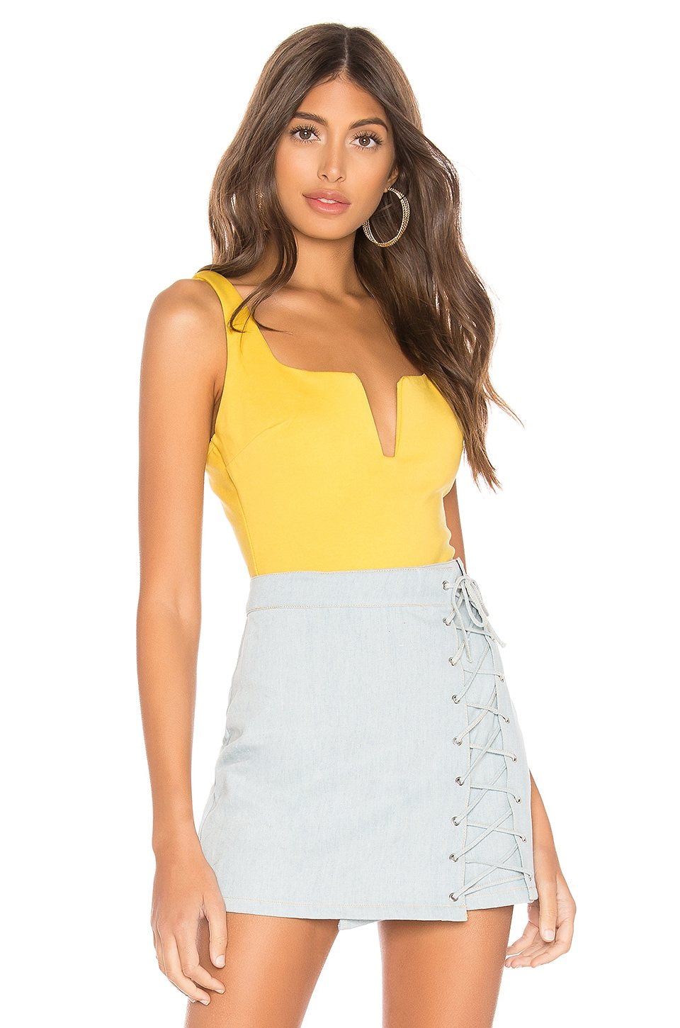 superdown Cici Square Neck Bodysuit in Yellow