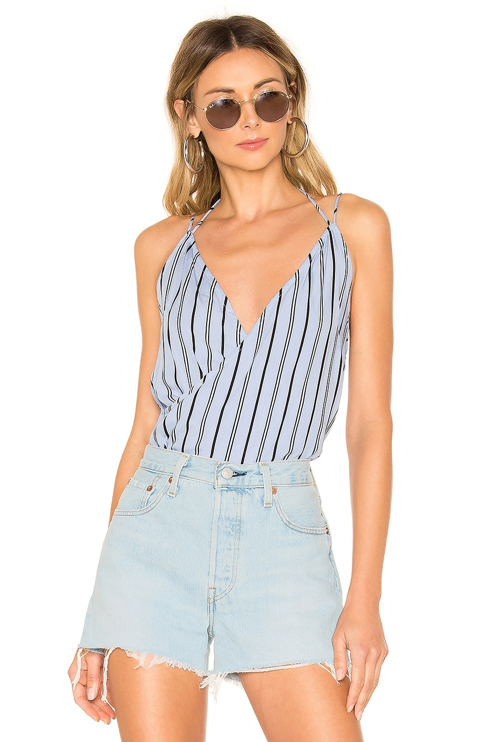 superdown Kennedy Strappy Surplice Top in Blue Stripe