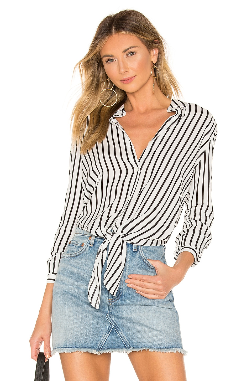 superdown Carrie Button Up Blouse in White & Black