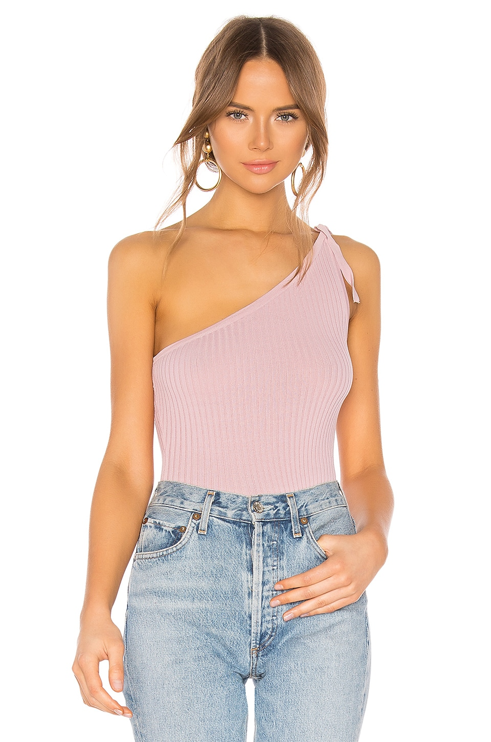 superdown Lainey One Shoulder Top in Dusty Rose