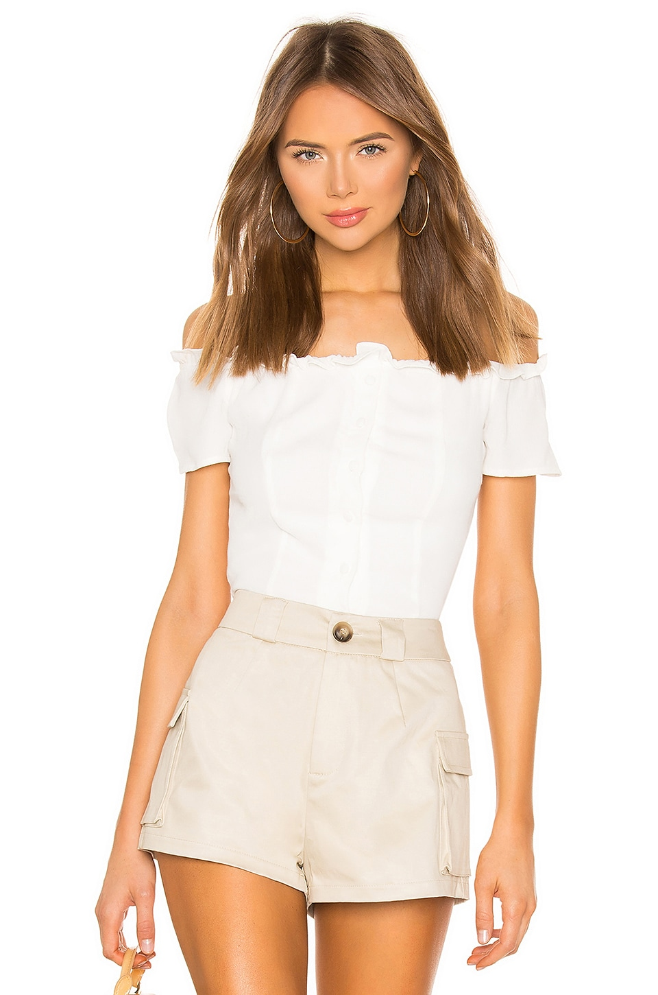 superdown Kareena Off Shoulder Frill Top in Ivory