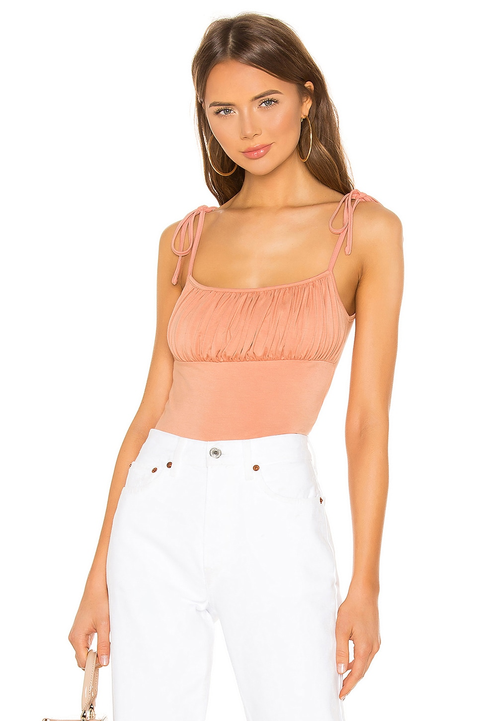 superdown Marni Ruched Tie Cami in Peach