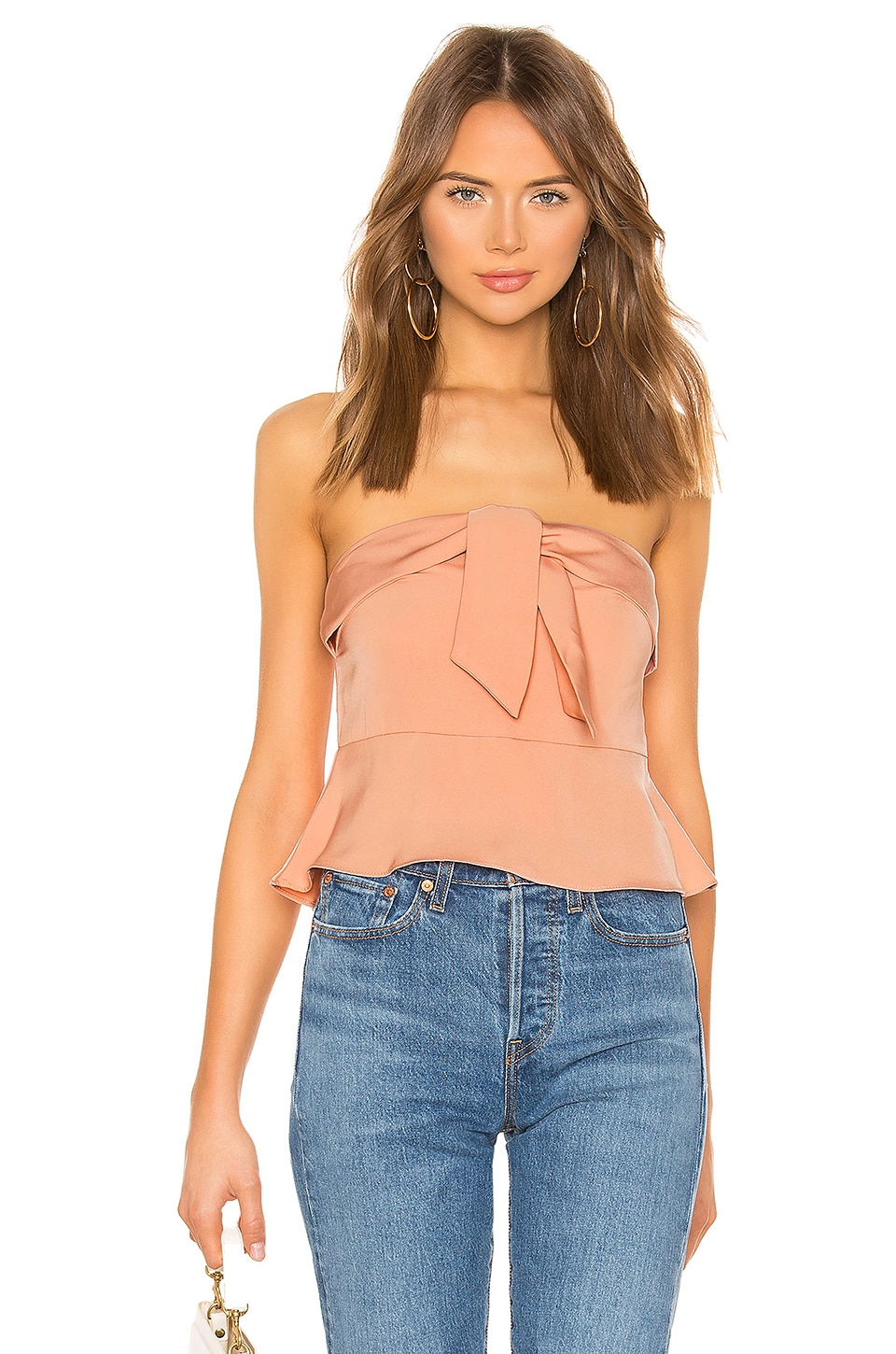 superdown Lily Strapless Tie Front Peplum Top en Nude
