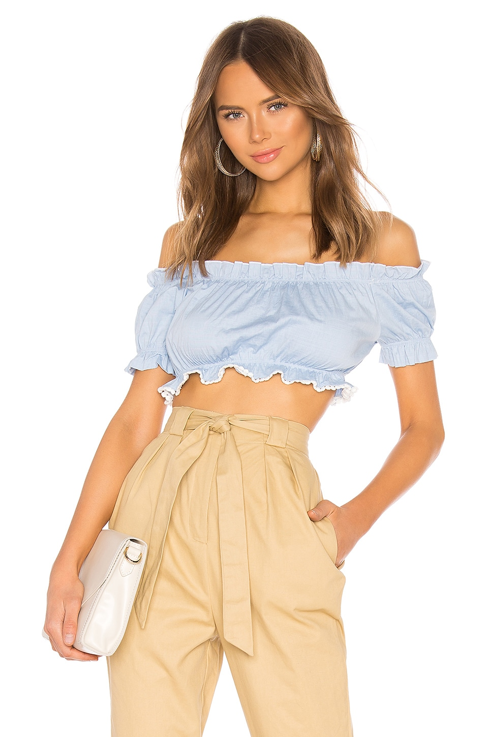 superdown April Off Shoulder Top en Light Blue