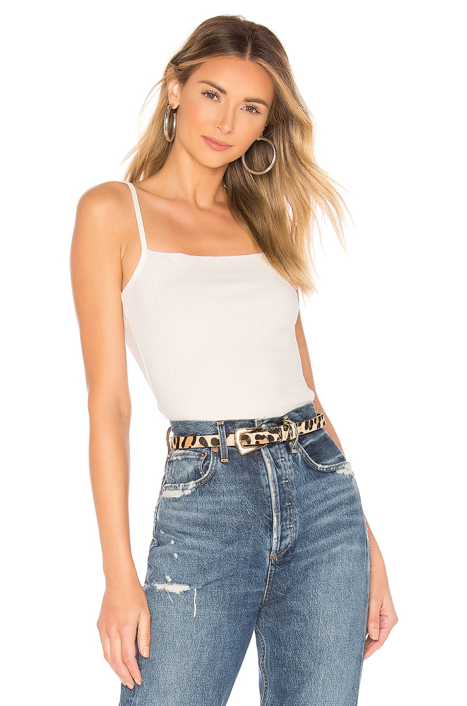 superdown Deena Ribbed Cami Top en White