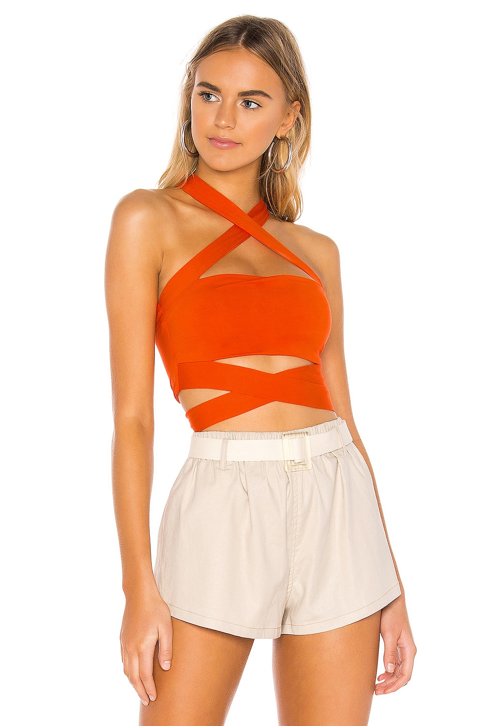 superdown Elva Halter Tie Top in Poppy