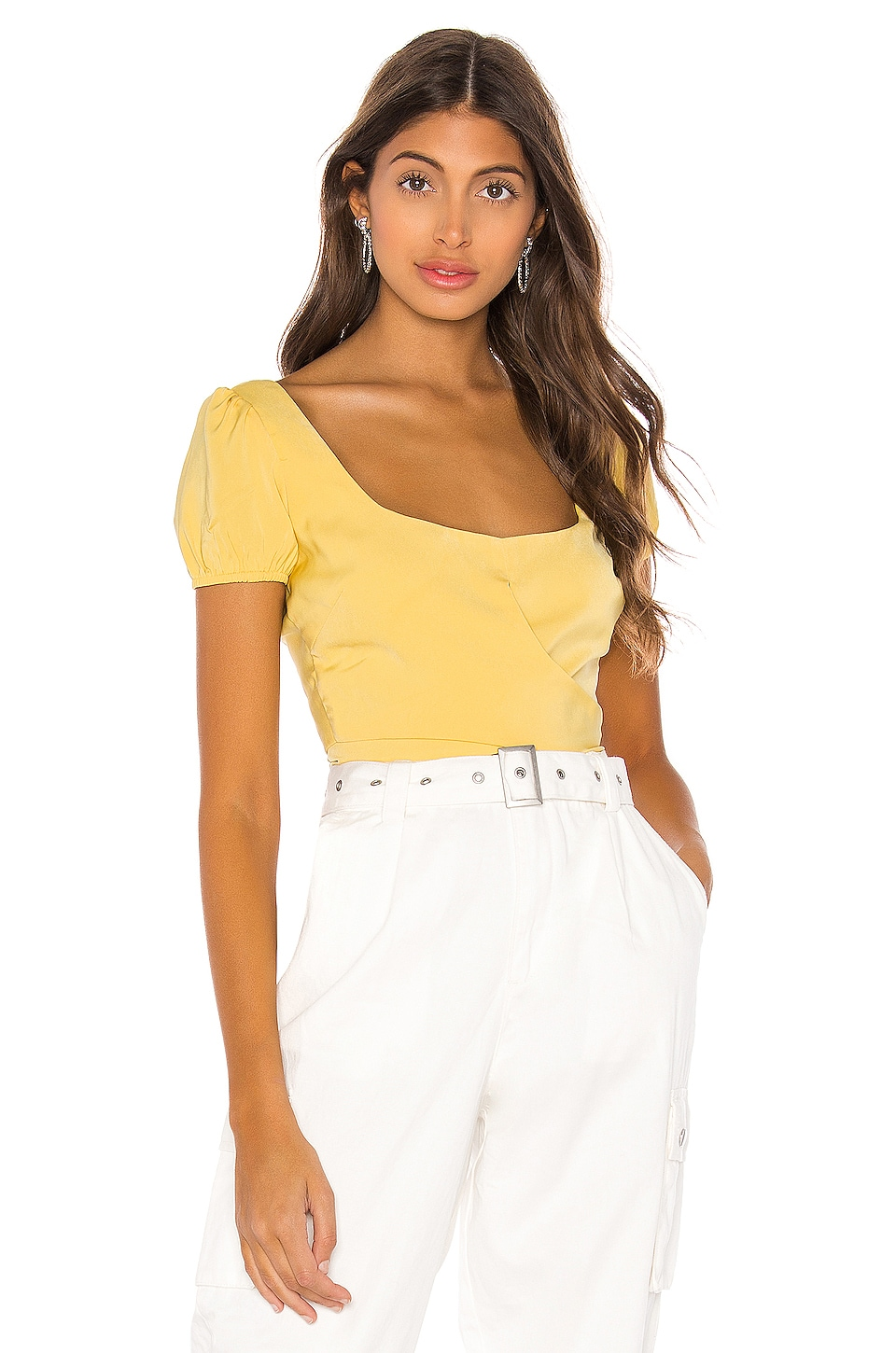 superdown Ricky Tie Back Top in Yellow