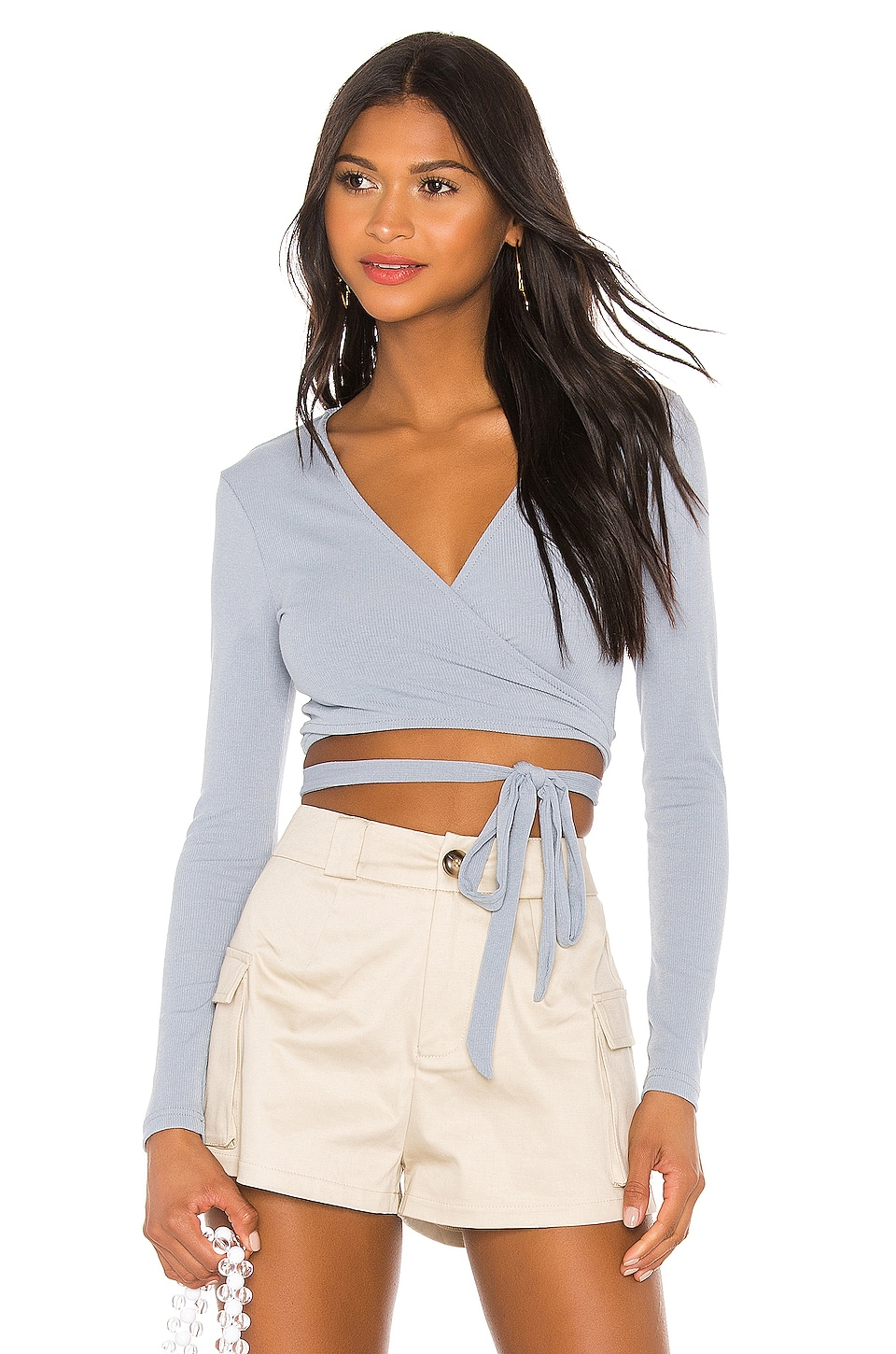 superdown Sylvie Wrap Tie Top in Slate