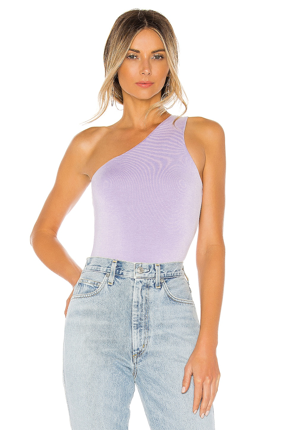 superdown Devonne One Shoulder Bodysuit in Lavender