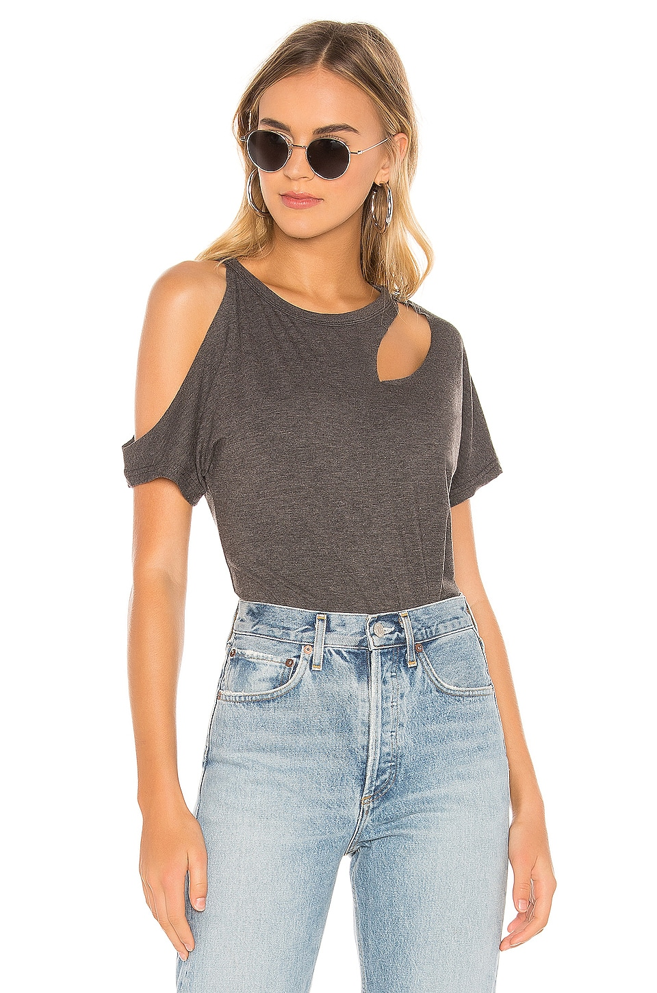 superdown Cinthia Cut Out Tee in Grey