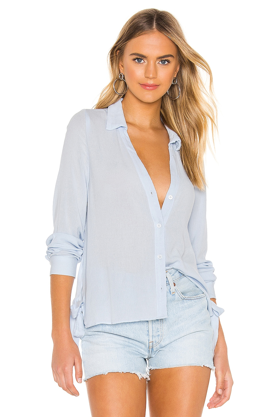 superdown Elsa Button Up Top in Light Blue