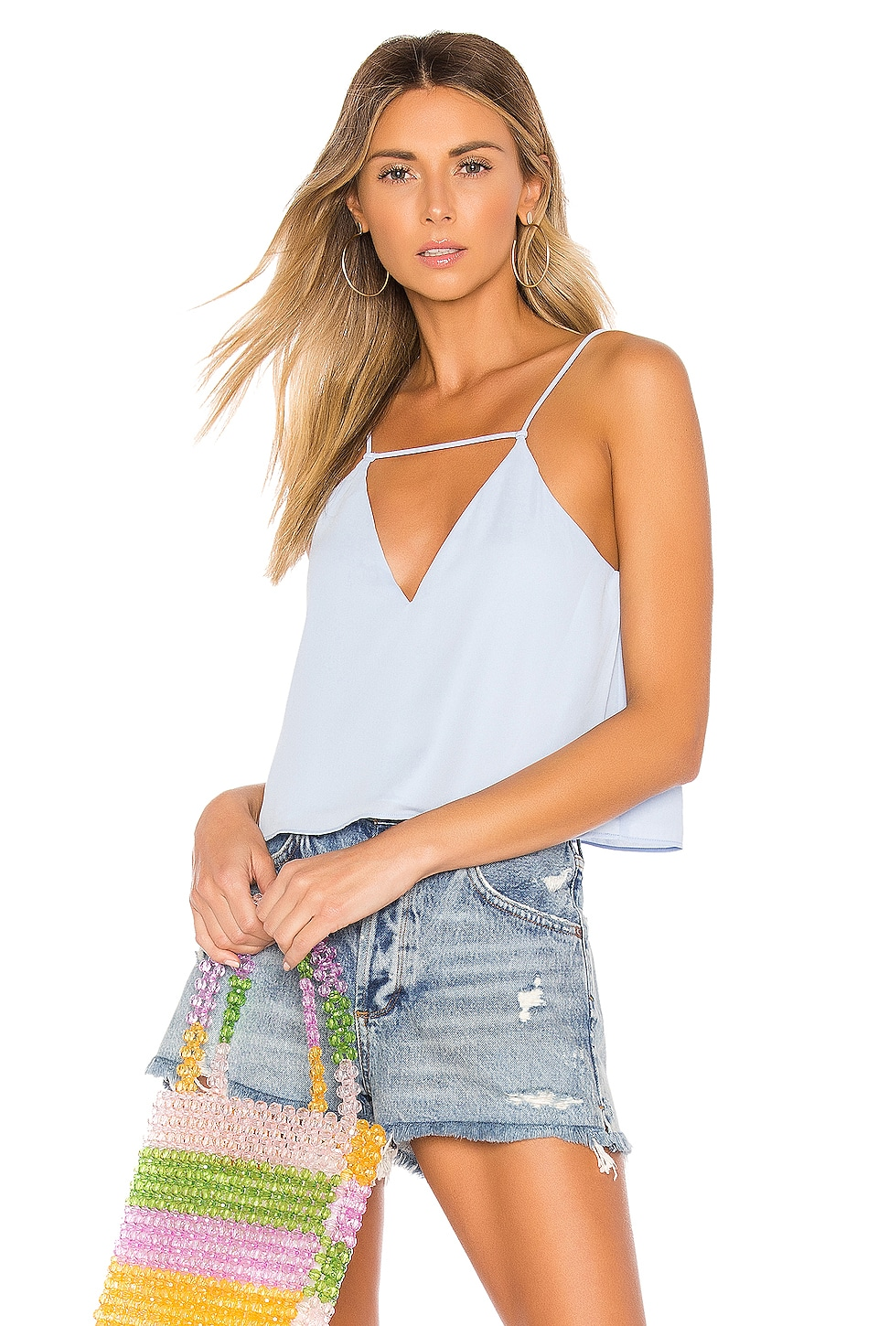 superdown Clair Deep V Cami Top in Light Blue
