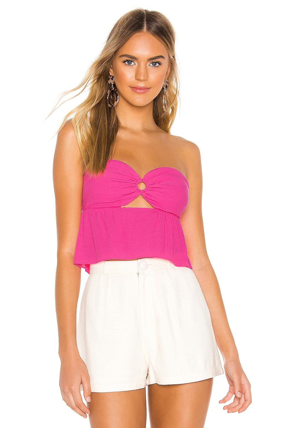 superdown Amber Strapless Top in Pink