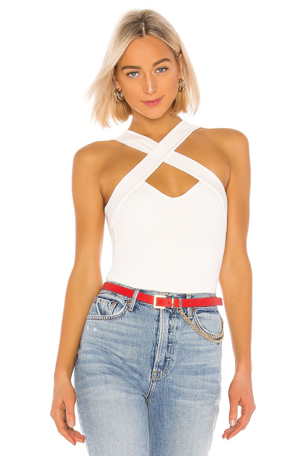 superdown Gene Cross Front Bodysuit in White