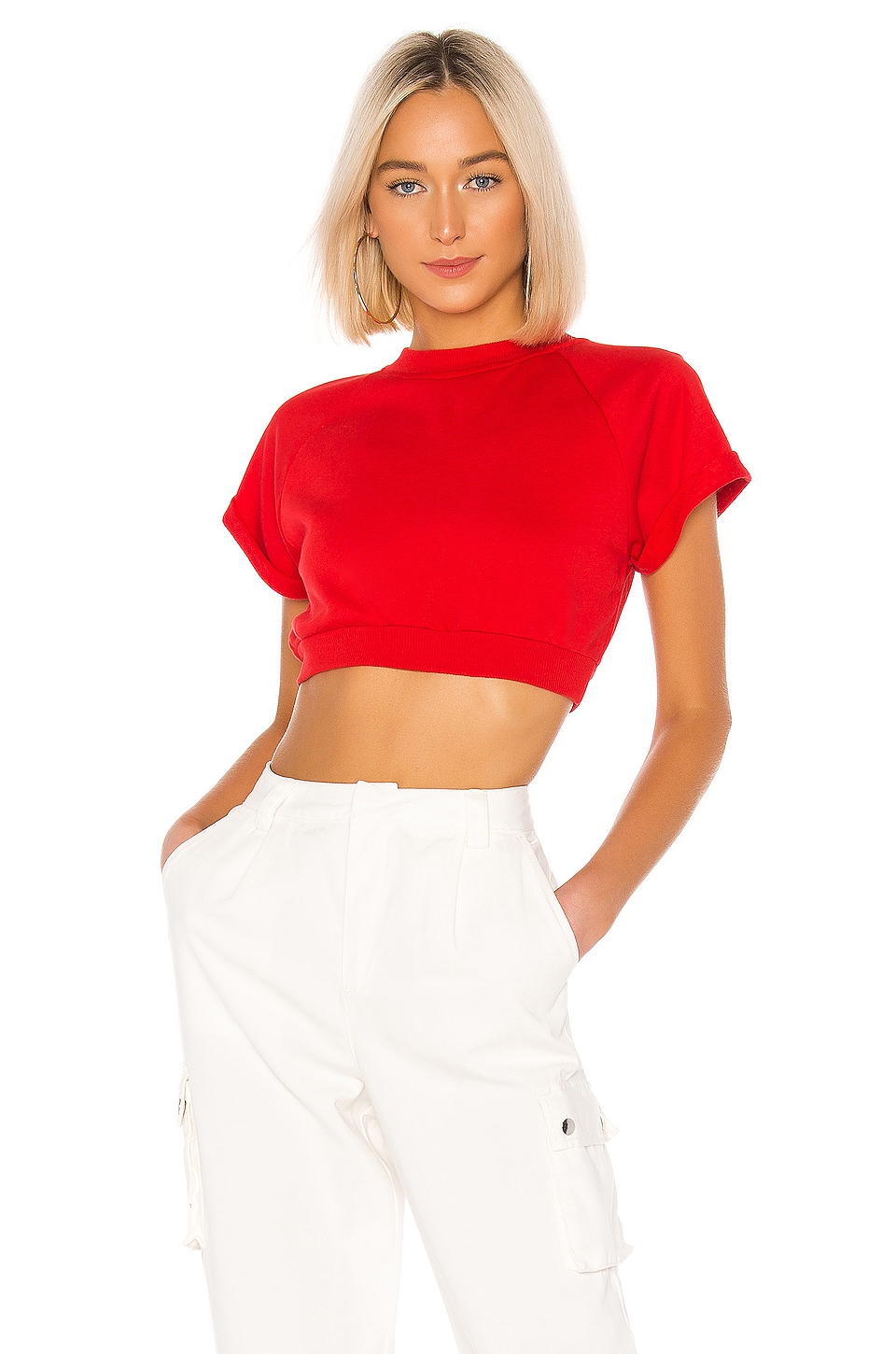 superdown Tory Cropped Pullover in Poppy