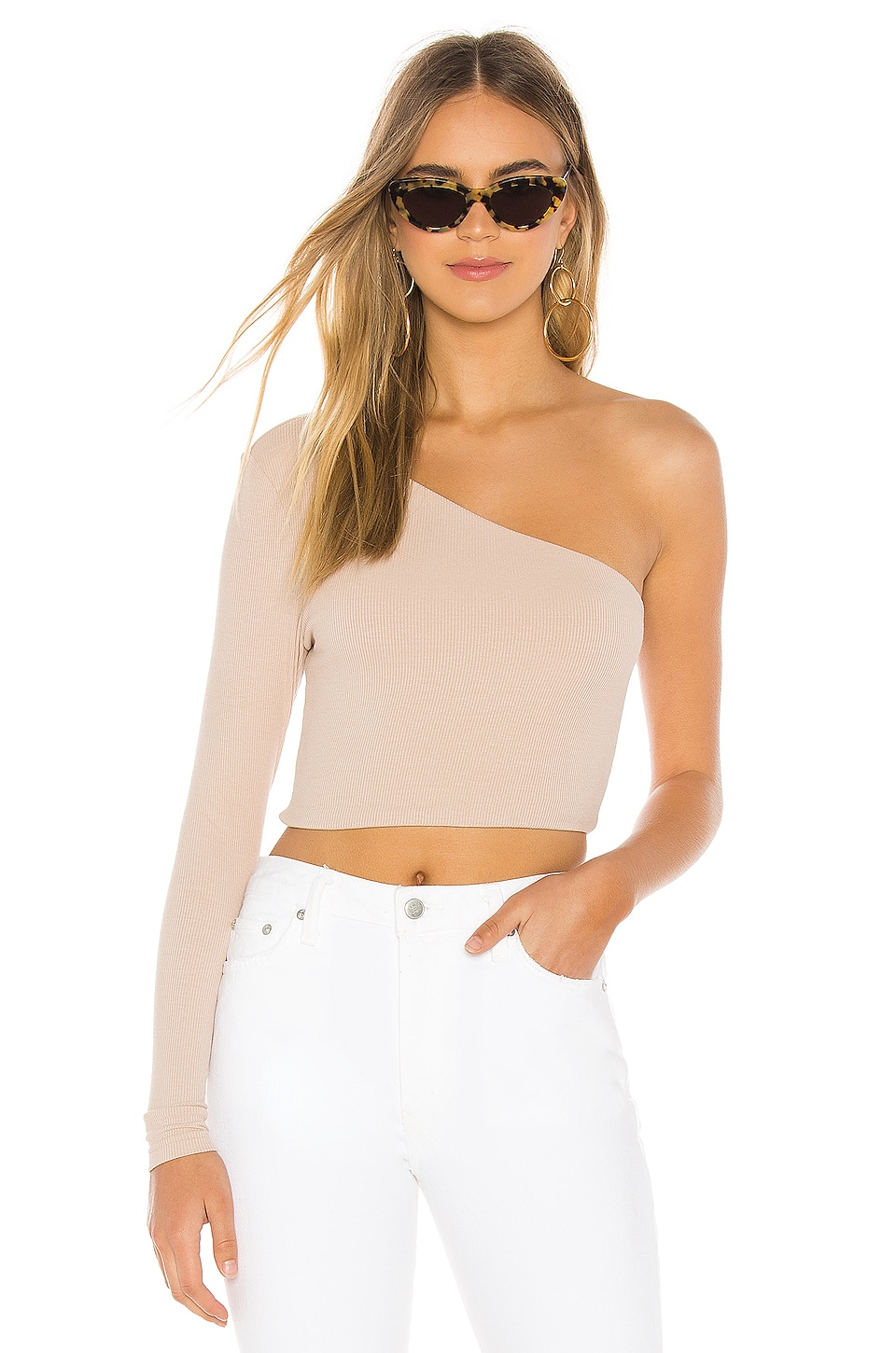 superdown Karol Ribbed Crop Top in Nude