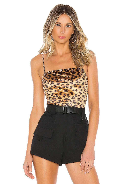 superdown Ashleigh Cami Bodysuit in Metallic Leopard