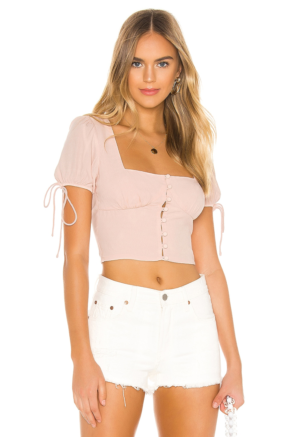 superdown Rosa Button Up Top in Nude