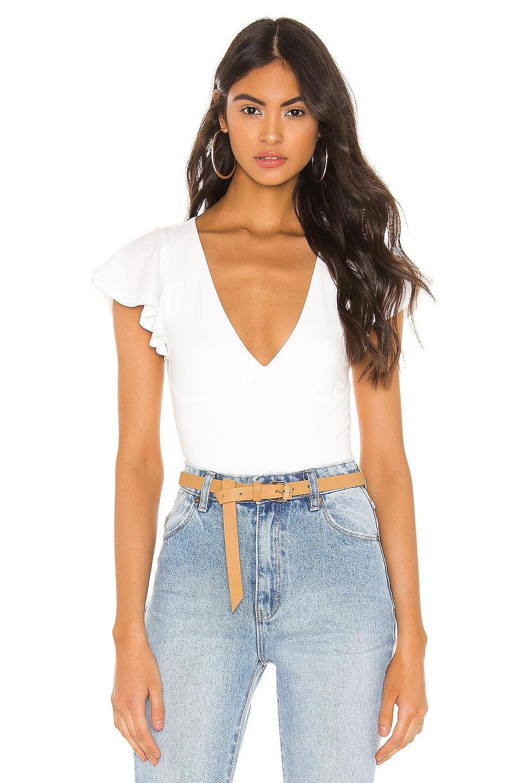 superdown Elana Flutter Sleeve Bodysuit in White