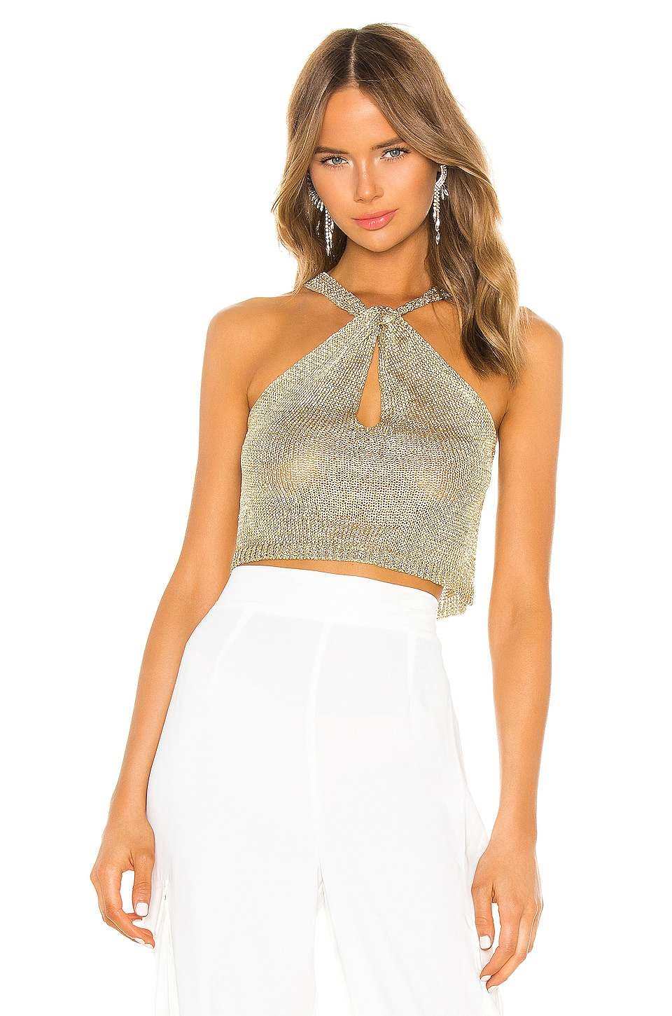 superdown Marianna Halter Top in Gold