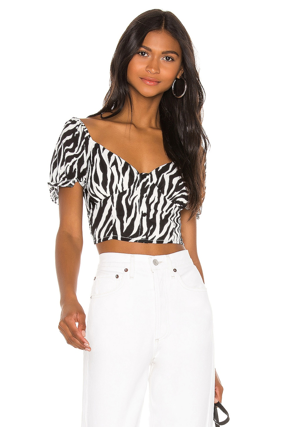 superdown Lily Button Front Top in Black & White