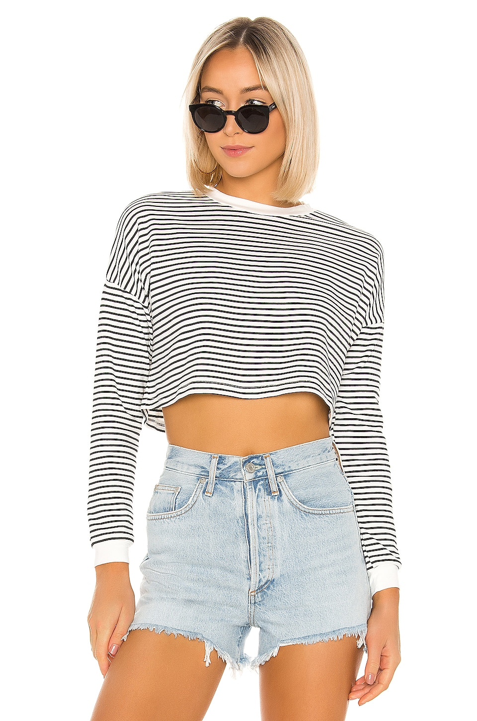 superdown Grace Knit Stripe Top in Black & White Stripe