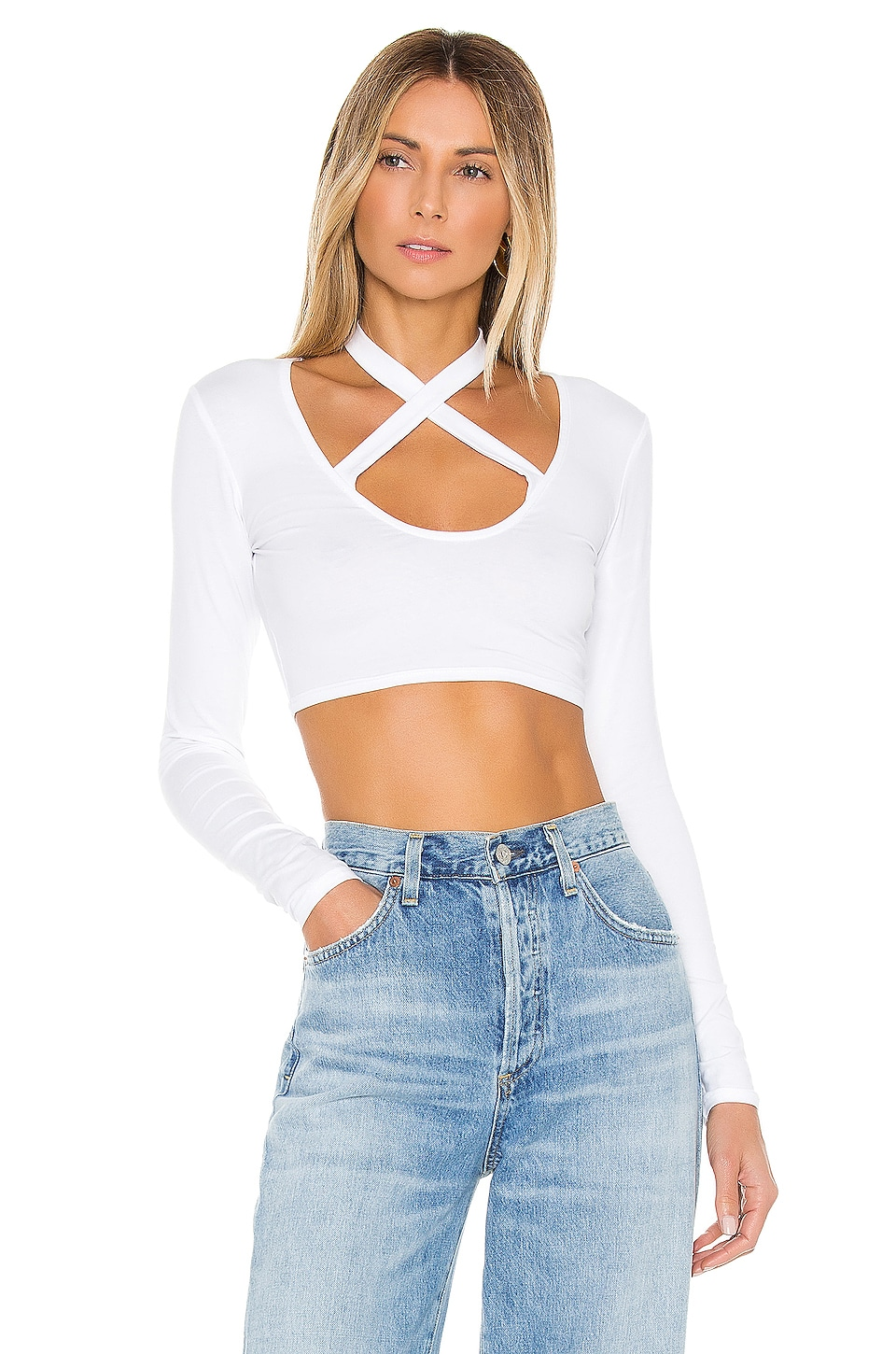 superdown Nico Long Sleeve Top in White